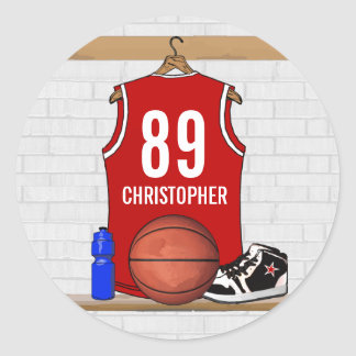 Personalized Red and White Basketball Jersey Classic Round Sticker
