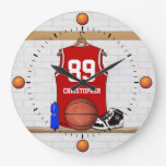 Personalized Red and White Basketball Jersey Clocks