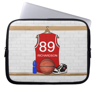 Personalized Red and White Basketball Jersey Computer Sleeve