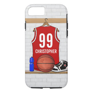Personalized Red and White Basketball Jersey iPhone 7 Case