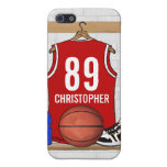 Personalized Red and White Basketball Jersey iPhone 5 Covers