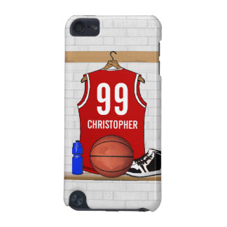 Personalized Red and White Basketball Jersey iPod Touch (5th Generation) Cover
