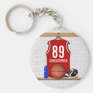 Personalized Red and White Basketball Jersey Basic Round Button Keychain