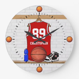 Personalized Red and White Basketball Jersey Large Clock