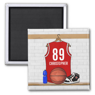 Personalized Red and White Basketball Jersey Magnet