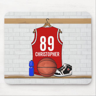 Personalized Red and White Basketball Jersey Mouse Pad