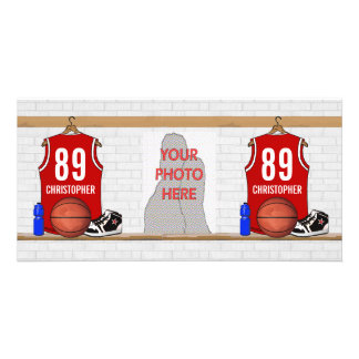 Personalized Red and White Basketball Jersey Photo Card