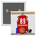 Personalized Red and White Basketball Jersey Pin