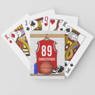 Personalized Red and White Basketball Jersey Playing Cards