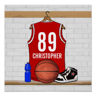 Personalized Red and White Basketball Jersey Poster