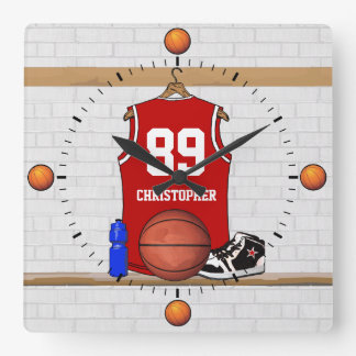 Personalized Red and White Basketball Jersey Square Wall Clock