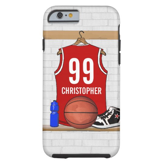 Personalized Red and White Basketball Jersey Tough iPhone 6 Case
