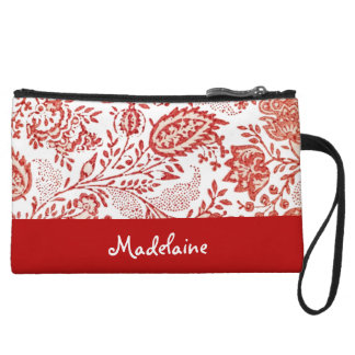 Personalized Red and White Floral Vintage Style Wristlet