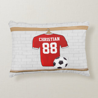 Personalized Red and White Football Soccer Jersey Accent Pillow
