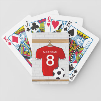 Personalized Red and White Football Soccer Jersey Bicycle Playing Cards