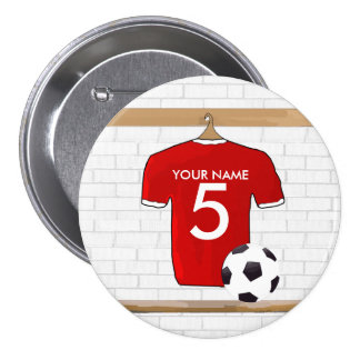 Personalized Red and White Football Soccer Jersey Button