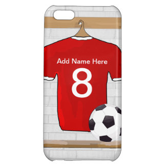 Personalized Red and White Football Soccer Jersey Case For iPhone 5C