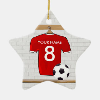 Personalized Red and White Football Soccer Jersey Ceramic Ornament
