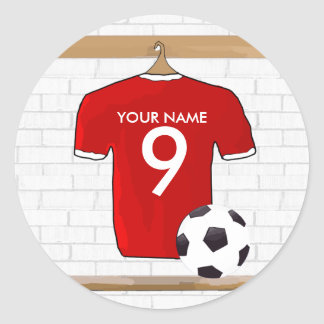 Personalized Red and White Football Soccer Jersey Classic Round Sticker