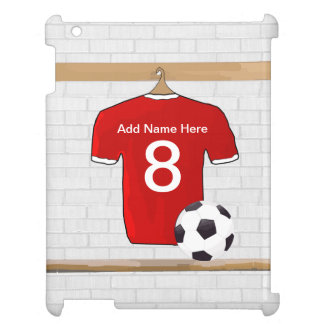 Personalized Red and White Football Soccer Jersey Cover For The iPad 2 3 4