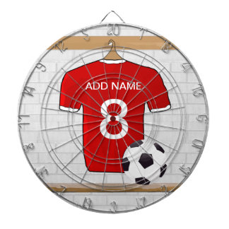 Personalized Red and White Football Soccer Jersey Dart Board