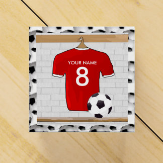 Personalized Red and White Football Soccer Jersey Favor Box