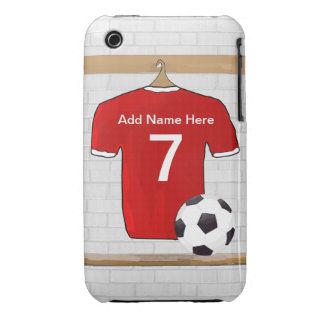 Personalized Red and White Football Soccer Jersey iPhone 3 Cover