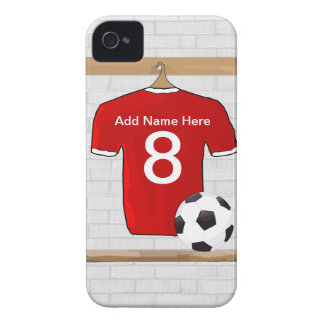 Personalized Red and White Football Soccer Jersey iPhone 4 Case