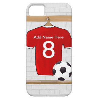 Personalized Red and White Football Soccer Jersey iPhone 5 Case