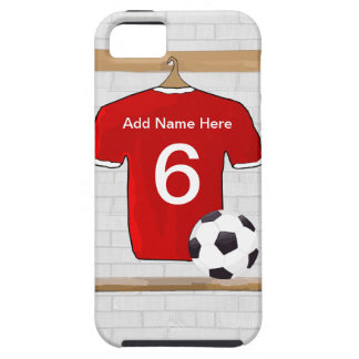 Personalized Red and White Football Soccer Jersey iPhone 5 Covers