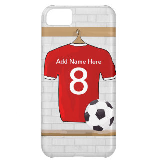 Personalized Red and White Football Soccer Jersey iPhone 5C Cover