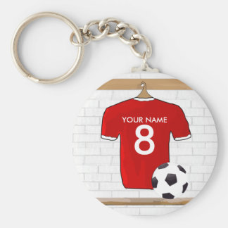 Personalized Red and White Football Soccer Jersey Basic Round Button Keychain