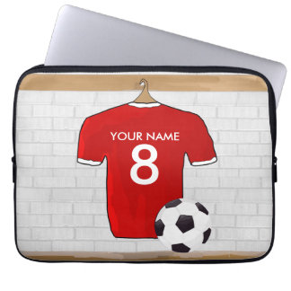Personalized Red and White Football Soccer Jersey Laptop Computer Sleeve