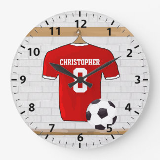 Personalized Red and White Football Soccer Jersey Large Clock