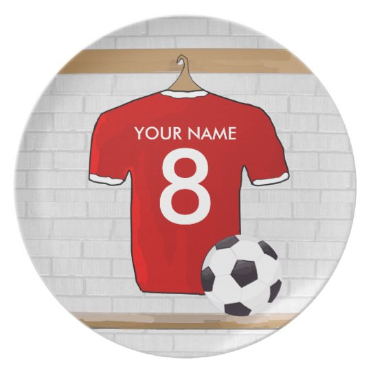 Personalized Red and White Football Soccer Jersey Melamine Plate
