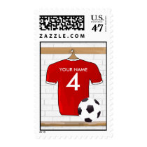 Personalized Red and White Football Soccer Jersey Postage
