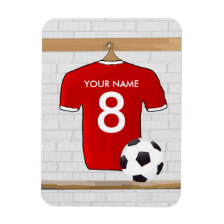 Personalized Red and White Football Soccer Jersey Rectangular Photo Magnet