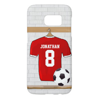 Personalized Red and White Football Soccer Jersey Samsung Galaxy S7 Case