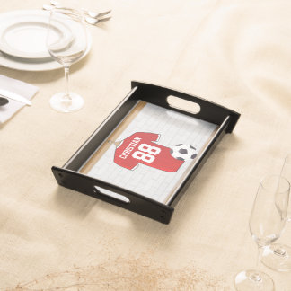 Personalized Red and White Football Soccer Jersey Serving Tray