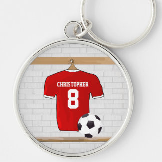 Personalized Red and White Football Soccer Jersey Silver-Colored Round Keychain