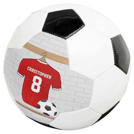 Personalized Red and White Football Soccer Jersey Soccer Ball