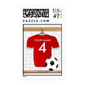 Personalized Red and White Football Soccer Jersey Stamp