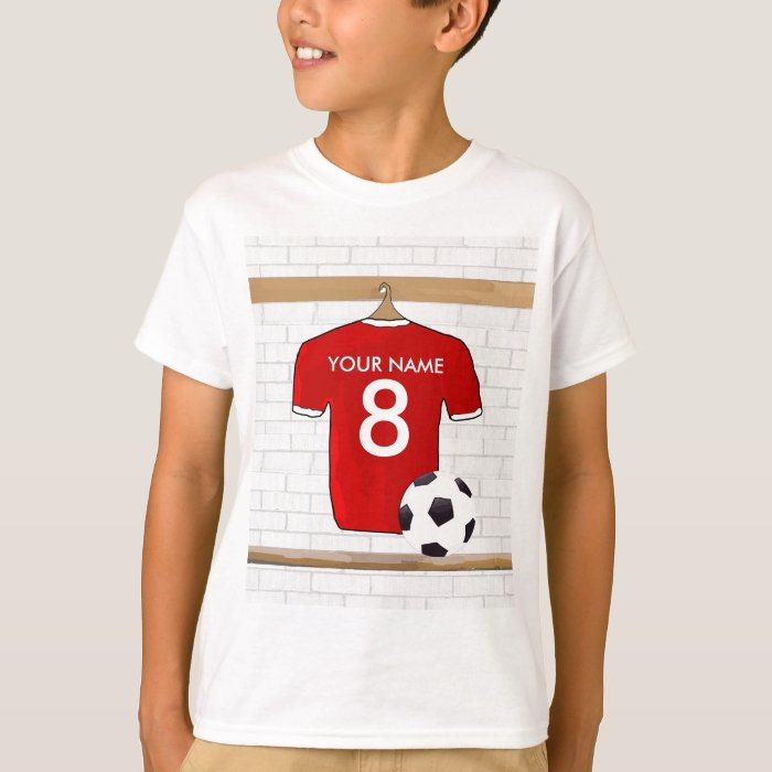 Personalized red and white football soccer jersey t shirt for Personalized football t shirts