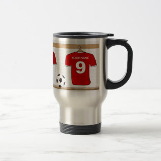 Personalized Red and White Football Soccer Jersey Travel Mug