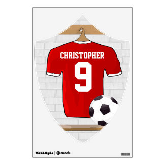 Personalized Red and White Football Soccer Jersey Wall Decal
