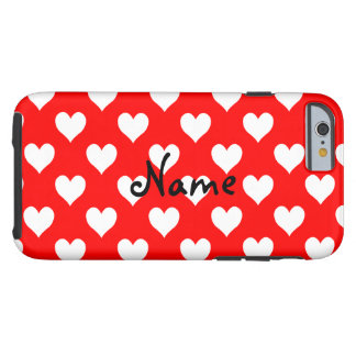 Personalized Red and White Heart Pattern Tough iPhone 6 Case