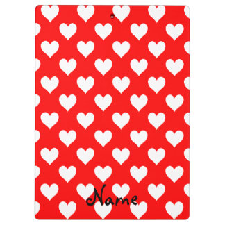 Personalized Red and White Heart Pattern Clipboard