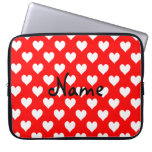 Personalized Red and White Heart Pattern Computer Sleeve