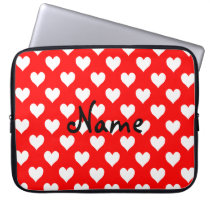 Personalized Red and White Heart Pattern Laptop Sleeve