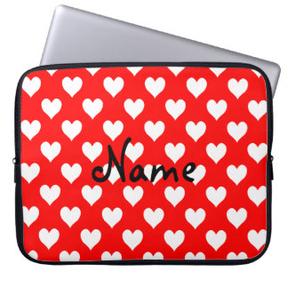 Personalized Red and White Heart Pattern Laptop Sleeves